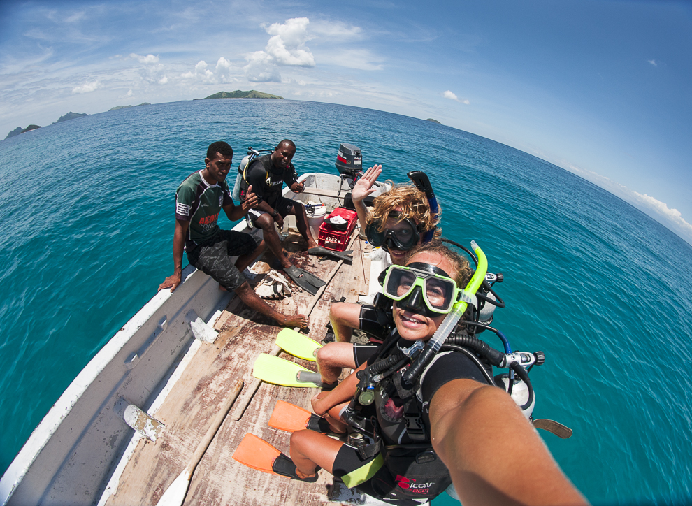 Taking our diver certifications with the greatest teacher ever on Mana Island, Fiji