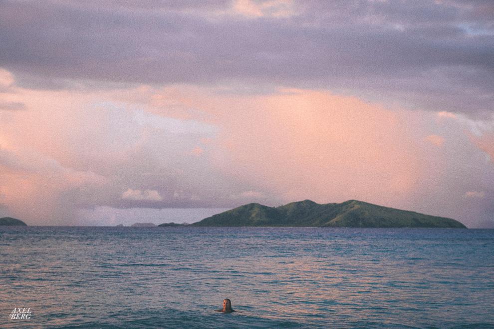 Enjoying an evening swim with the most beautiful light in the world, Fiji