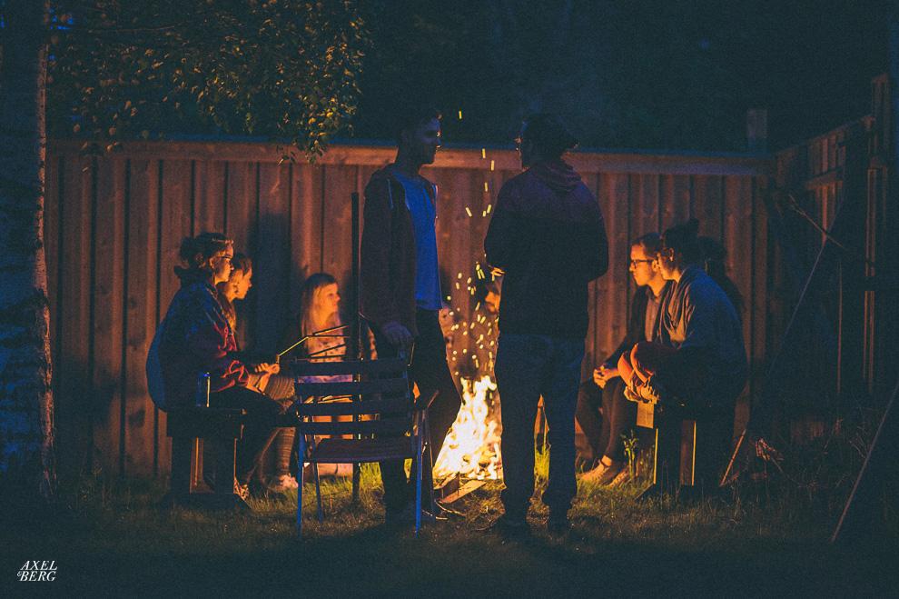 Singing around the fire on Midsummer at Ingarö, Sweden